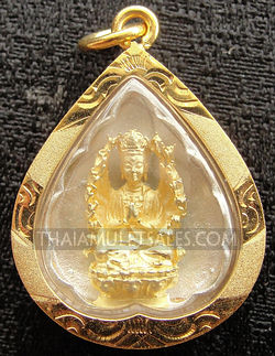 Thailand Kwan Yin thousand arm pendant with gold case.