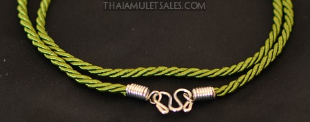 Olive green amulet necklace from Thailand - for children.