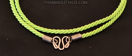 Lime green Thai amulet necklace for children.