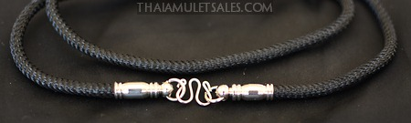 Silky black nylon Thai amulet necklace with premium stainless steel fixture and clasp.