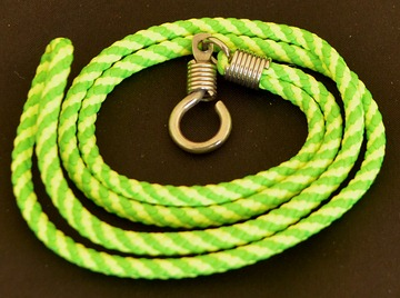 This is a children's lime-green and yellow braided nylon necklace made in Bangkok, Thailand. It is 20-inches long (51 cm).
